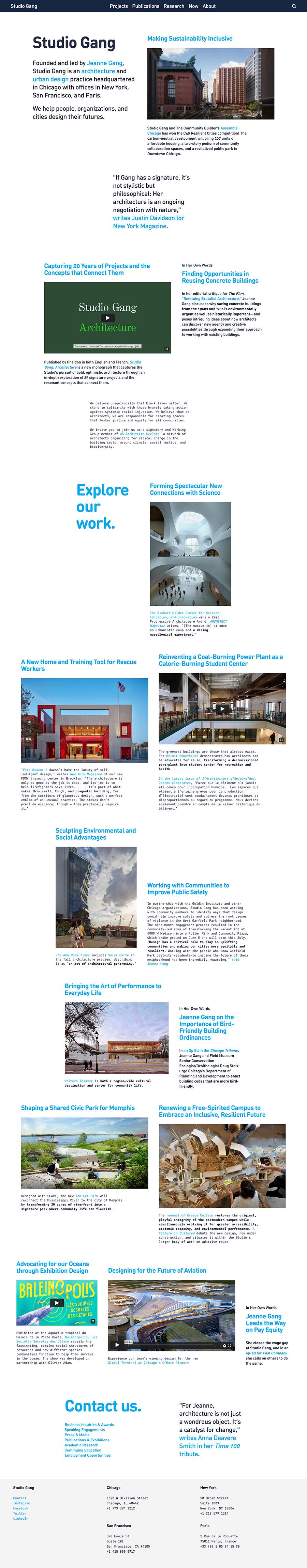 Studio Gang Best Architecture Website